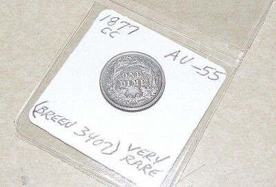 1877 CC Motto Liberty Seated Dime Almost Uncirculated Carson City Breen