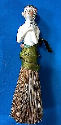 Vintage Porcelain Pin Cushion Half Doll  With Brush  #5