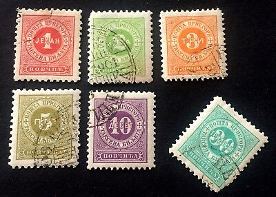 Montenegro Црна Гора porto stamps 1894 - 5 used stamps