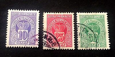 Montenegro Црна Гора porto stamps 1907 - 3 used stamps