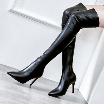 Ladies Sexy Over Knee Boots Stiletto Thigh High Heel Pointed Toe Nightclub Shoes