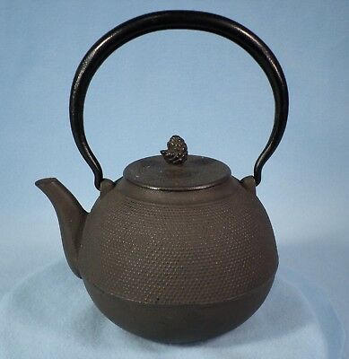 Vintage Japanese Cast Iron Tea Pot  Signed  with Pine Cone fineal over 5 lbs