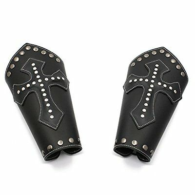 Mens Faux Leather Knight Arm Guards-Medieval Cross Bracers-Black/Brown-One Size