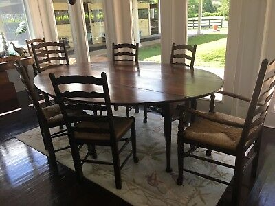 Vintage England Drop Leaf Dining Table And 8 Chairs