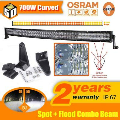 52inch 700W Osram LED Curved Work Light Bar Spot Flood Combo Offroad Truck SUV