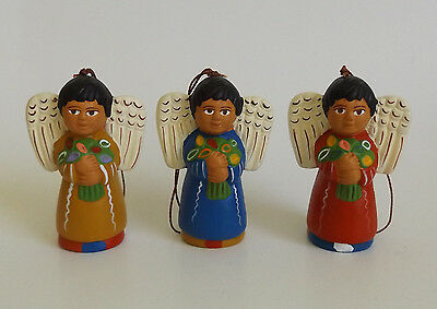 Angels Ornaments Hand Made In Peru Ceramic Set Of 3 New