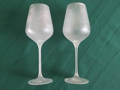 Two White Satin Tree Belvedere Vodka  Wine Goblets Glasses