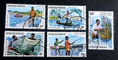 5 nice old canceled stamps Togo 1974