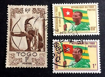 3 nice old canceled stamps Togo