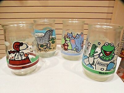 Set Of 4 Welch's Jelly Jar Glasses--Peanuts--Kermit