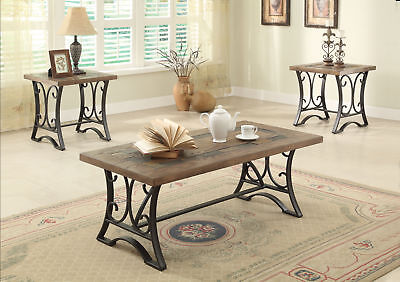 Acme Kiele 3-Piece Coffee Table Set in Oak and Antique Black Finish 81125