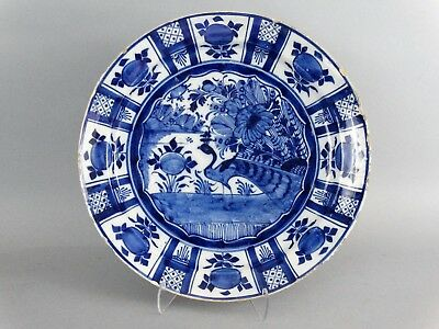 18th-Century Dutch Delft Charger with Peacock Bird Faience