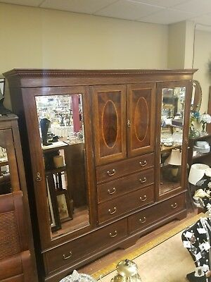 """Large Antique Burlwood Armoire,, 4 Doors,,5 Drawer,,2 Mirrors,,82""""tall,,84""""long"""