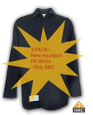 3 PACK- Brand New Men's NAVY Insultech FR Flame Resistant Work Shirts HRC 2