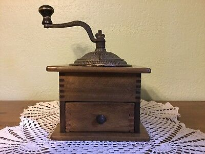 Vintage Imperial Arcade Manufacturing Company Coffee Grinder Wood / Cast Iron