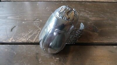 Large Vintage Heavy Metal Egyptian Scarab Cuff Adjustable Size