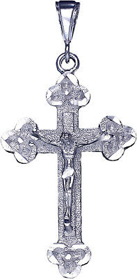 """Large 3/"""" Sterling Silver Jesus Carrying Cross Pendant Necklace with 24/"""" Chain"""