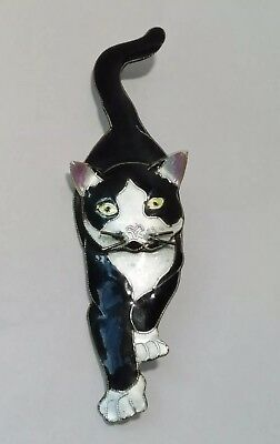 HANDCRAFTED Vintage Enamel BLACK White CAT PIN Unique Kitty!
