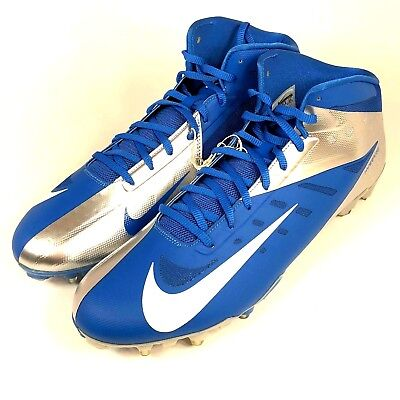 16a453c95d89 Nike Vapor Elite Hyperfuse Mens 15 Mid Football Cleats 534771 411 Blue  Silver