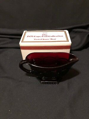 Vintage Avon 1876 Cape Cod Collection Ruby Red Glass Footed Sauce Boat VGUC IOB