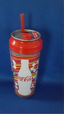 Coca-Cola Plastic Travel 16oz Tumbler With Lid & Straw Double Wall Insulated #6
