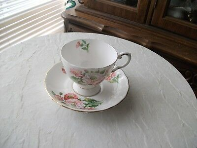 """Tuscan fine bone china """"Birthday Flowers"""" teacup and saucer August"""