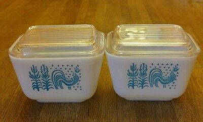 Vintage Pyrex Amish Butterprint Refrigerator Dishes with Lids Lot of 2