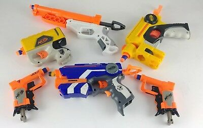 Lot Of 6 Preowned Nerf Gun Pistols Bundle With 7 Darts Tested And Work