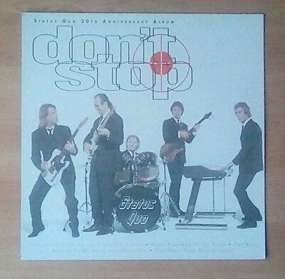 """STATUS QUO  -Promotional 12"""" x 12"""" Card (Flat) DON'T STOP (ideal for framing)"""