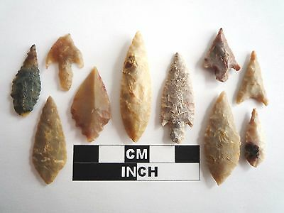 Neolithic Arrowheads x 10, High Quality Selection of Styles - 4000BC - (1067)