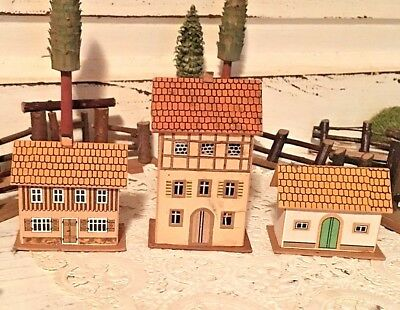 3 Dresden pressed-paper buildings. Germany, c1900. Perfect for Putz display!