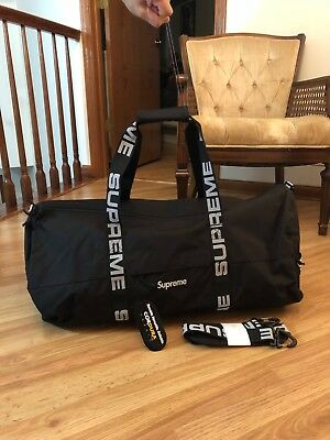 Supreme Large Duffle Bag Ss18 Black New In Box Logo Authentic