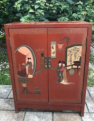 Antique, Chinese Wood & Metal Cabinet / Armoire Beautiful Design Pre owned .