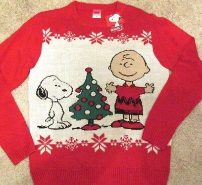 peanuts charlie brown snoopy christmas tree sweater redwhite mens large