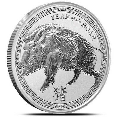 "1 oz .999 Solid Silver Art-Round/Coin "" 2019 Year of the BOAR, Chinese Zodiac """
