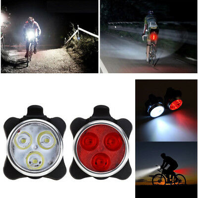 3LED USB Rechargeable Bike Front Rear Headlight Taillight Caution Bicycle Lights