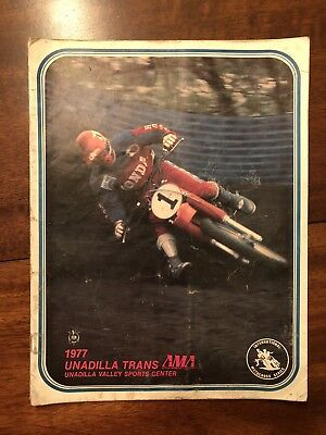 1977 UNADILLA TRANS-AMA 500cc/250cc MOTOCROSS PROGRAM-SIGNED By LACKEY & ELLIS