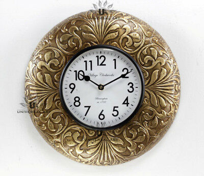 Vintage Home Decor Antique Look Brass Engraving Work Wall Clock Ethnic India 127