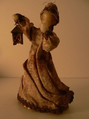 "VTG KOESTEL 6.5"" Wax Face  Brocade Dress Lantern Tree Topper Ornament Estate"