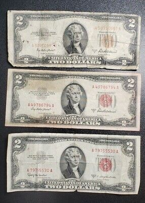 Lot of 3 Circulated $2 Banknotes 1953 Old Currency  ALU18A