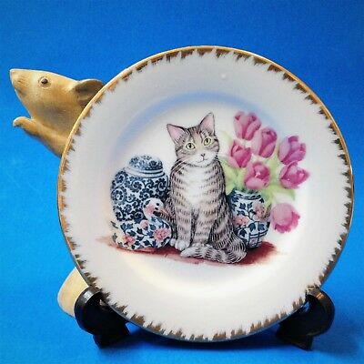 Cat Lovers! - Gilt Rimmed 13cm Porcelain Display Plate with Stand - Tabby Kitty
