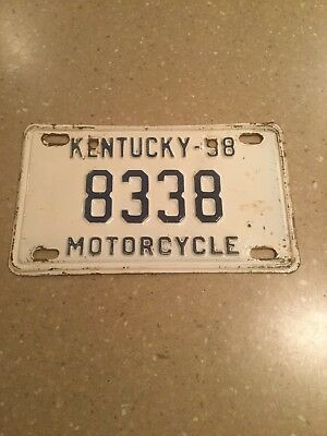 Kentucky 1958 Motorcycle License Plate