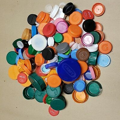Plastic RECYCLED Bottle Caps Lids Different Sizes Colors Crafts LOT OF 200