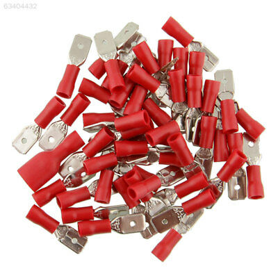 86D1 20Pcs 10Pairs Red Fully Insulated Spade Crimp Connectors Connector Terminal