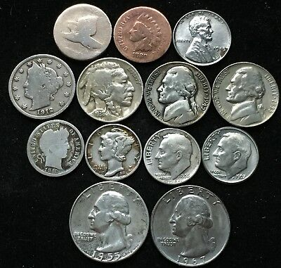 Great Lot Of 13 Diff Type Coins. 1858 Flying Eagle, Lots Of Silver 1858-1967!!