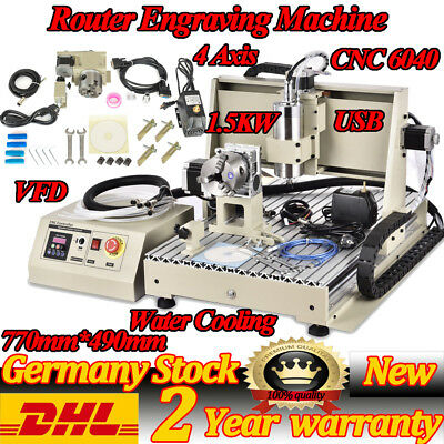 1500W USB CNC 6040 4 Axis Router Engraver 3D Milling Drilling Engraving Machine