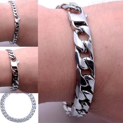 Men 20cm Stainless Steel Silver Curb Link Chain Bracelet Chunky 12 / 8 / 6mm