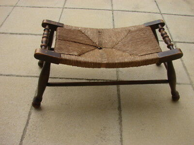 Antique French Oak Curved Rush Seated Stool C1895