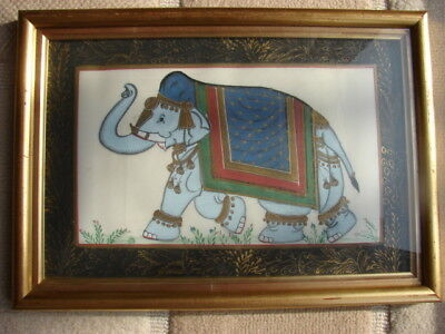 Vintage Indian Mughal Elephant Ornate Painting on Silk (No2)