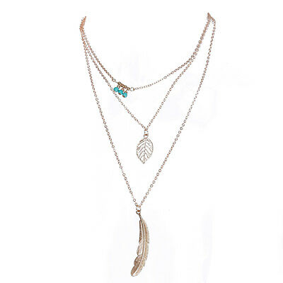 Tree-Layered Necklace Turquoise Beads Feather Leaf Accessories for Ladies one